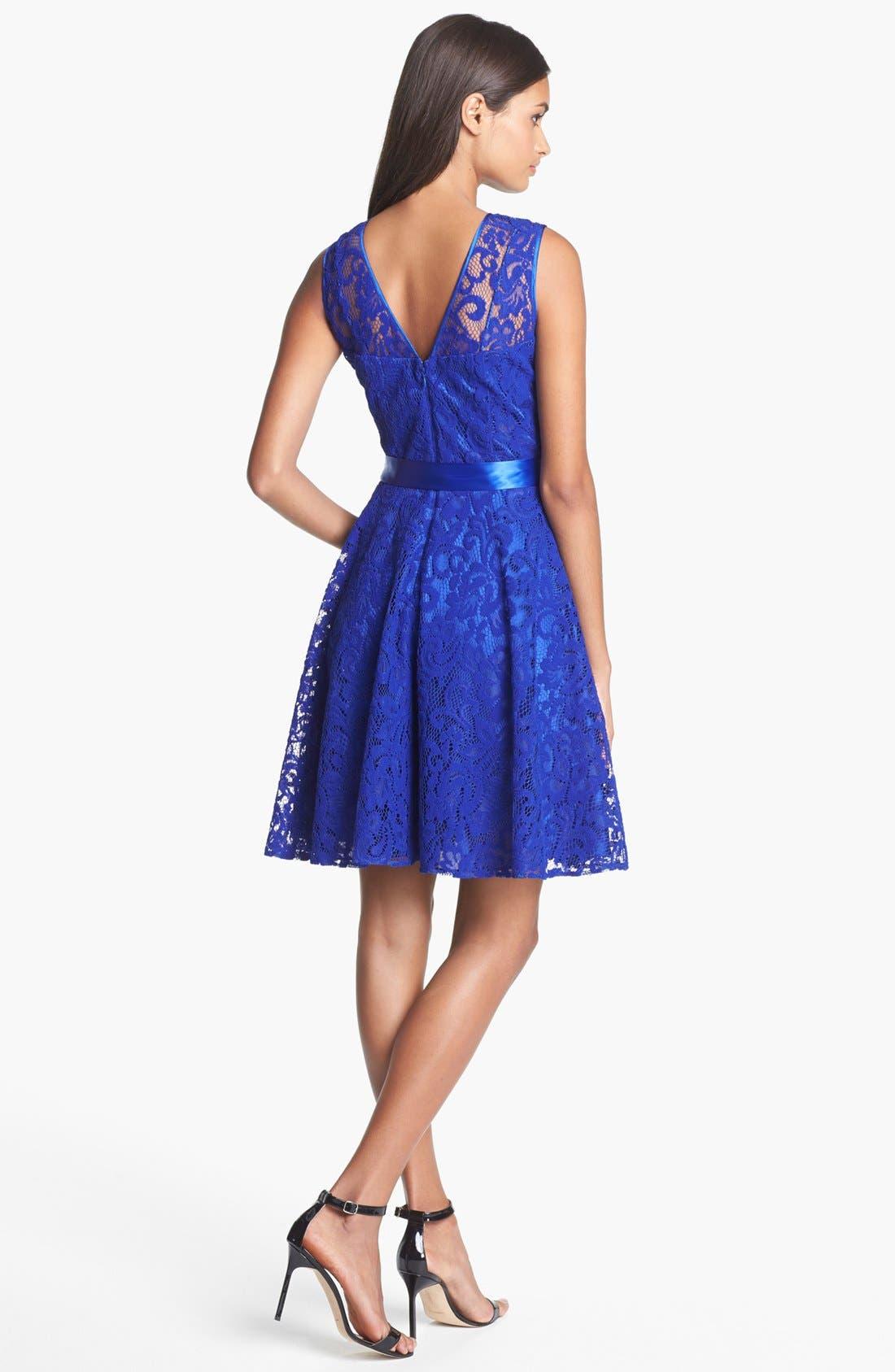 Alternate Image 2  - Betsy & Adam V-Back Lace Overlay Fit & Flare Dress