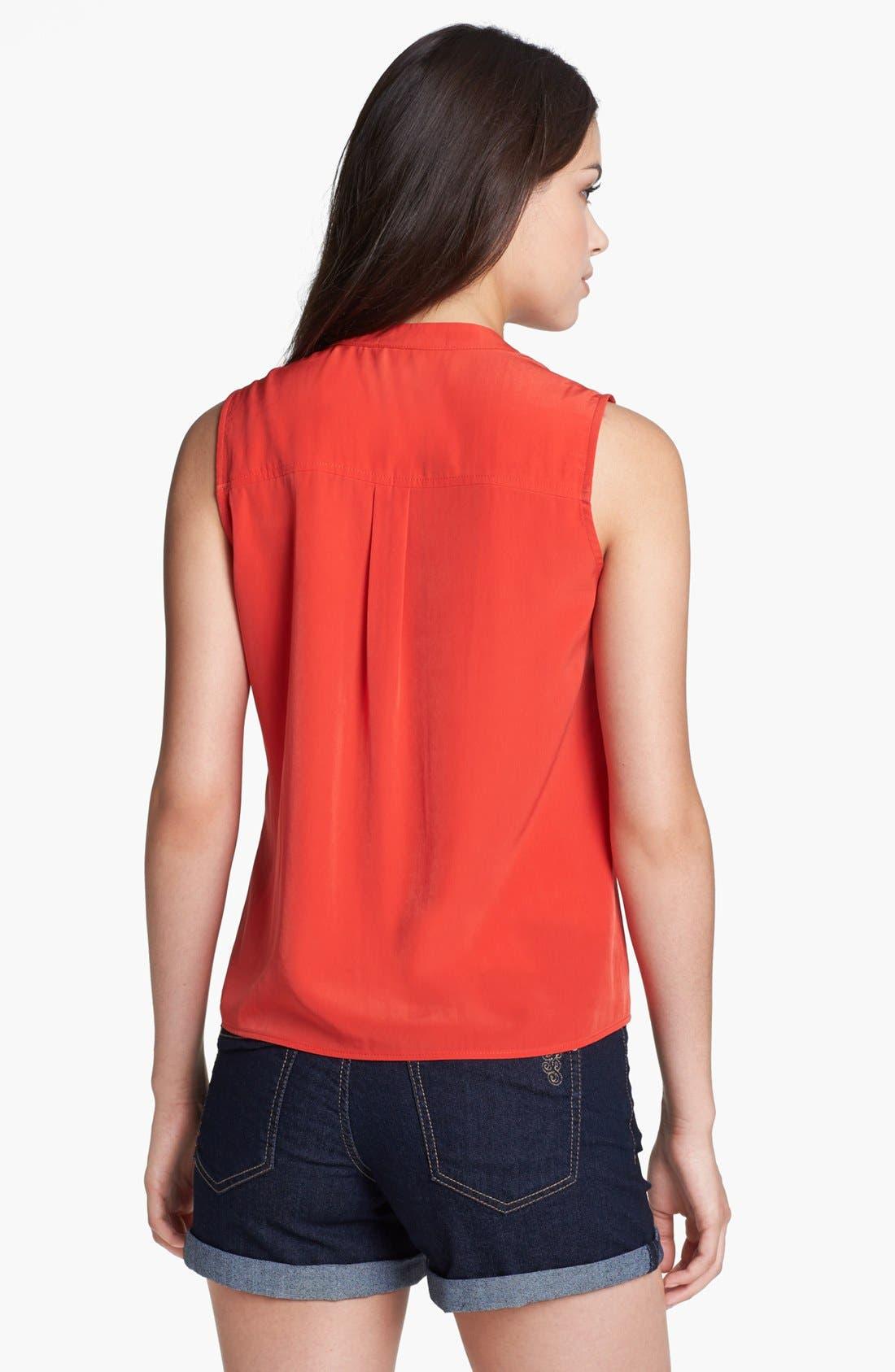 Alternate Image 2  - Olivia Moon Sleeveless Tie Front Blouse (Petite)