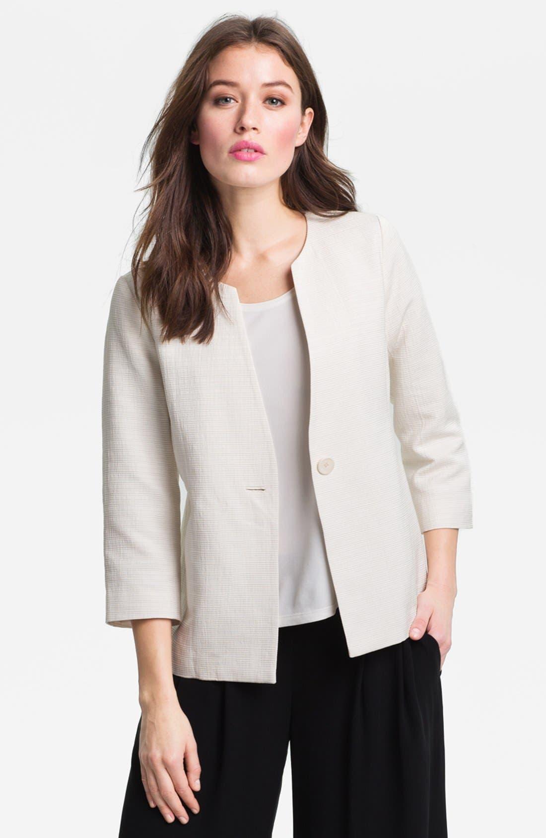 Alternate Image 1 Selected - Eileen Fisher Three Quarter Sleeve Jacket (Petite)