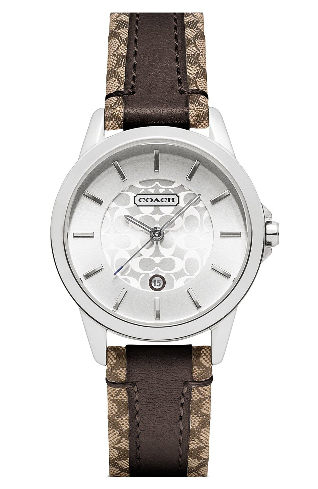 Alternate Image 1 Selected - COACH 'Classic Signature' Leather Strap Watch