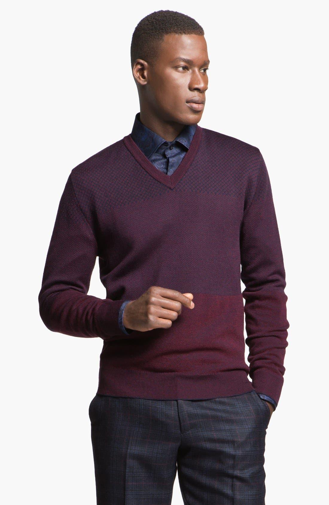 Alternate Image 1 Selected - Etro Jacquard Wool V-Neck Sweater