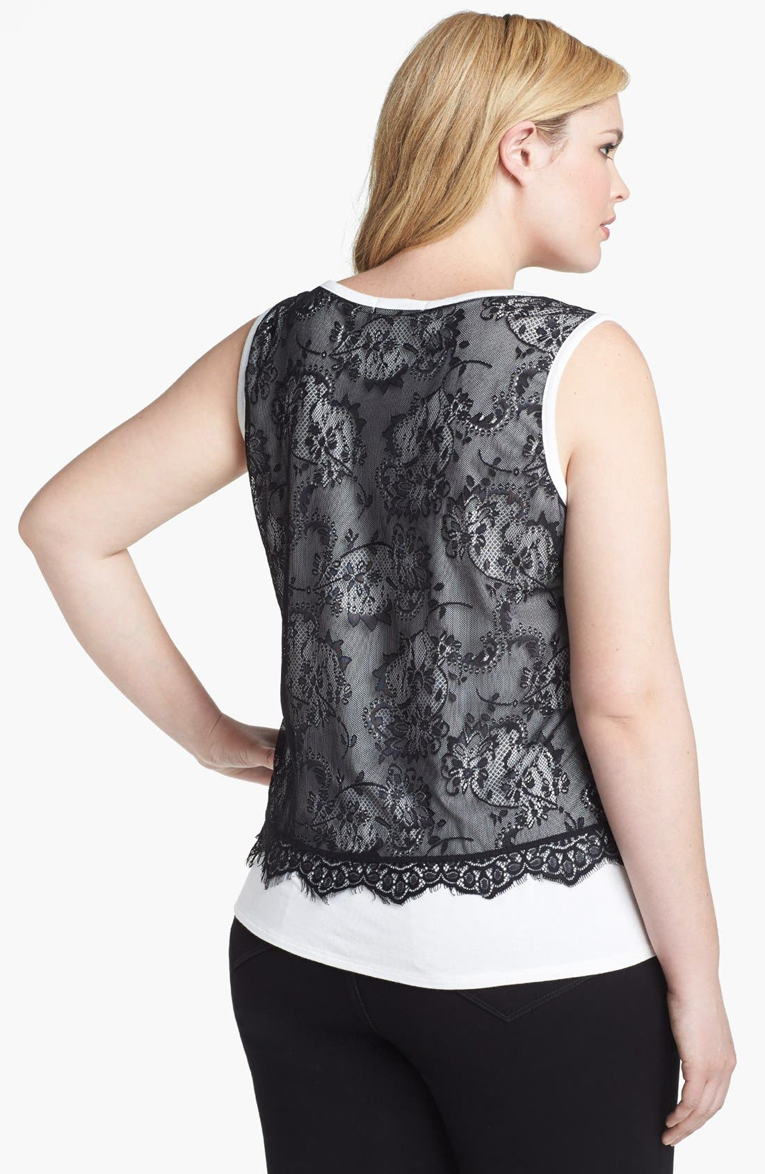 Alternate Image 2  - Olivia Moon Lace Overlay Tank (Plus Size)