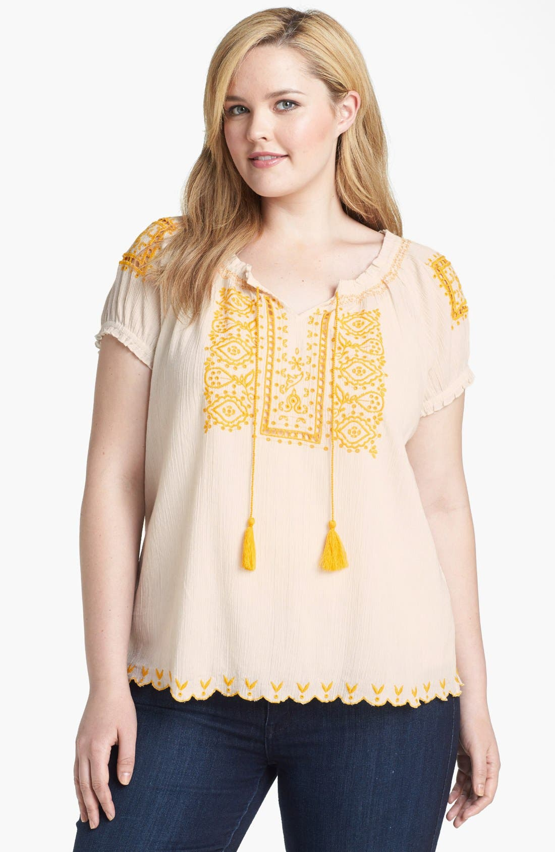 Main Image - Lucky Brand 'Sofi' Embroidered Eyelet Top (Plus Size)