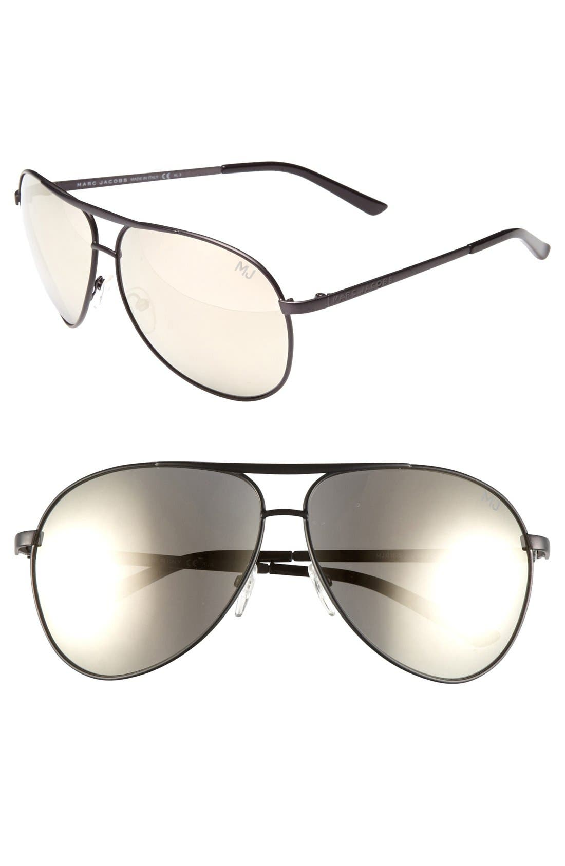 Main Image - MARC JACOBS 'Signature' 62mm Metal Aviator Sunglasses