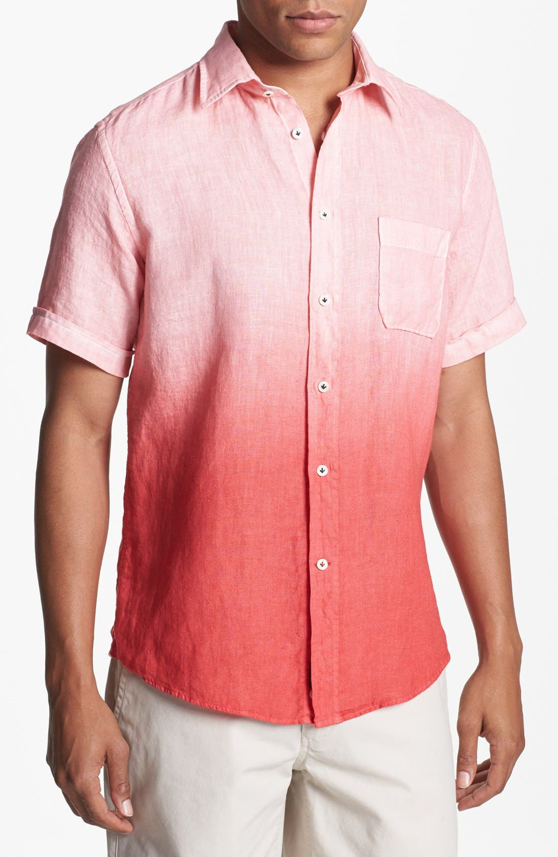 Alternate Image 1 Selected - Benson Dip Dye Short Sleeve Linen Sport Shirt