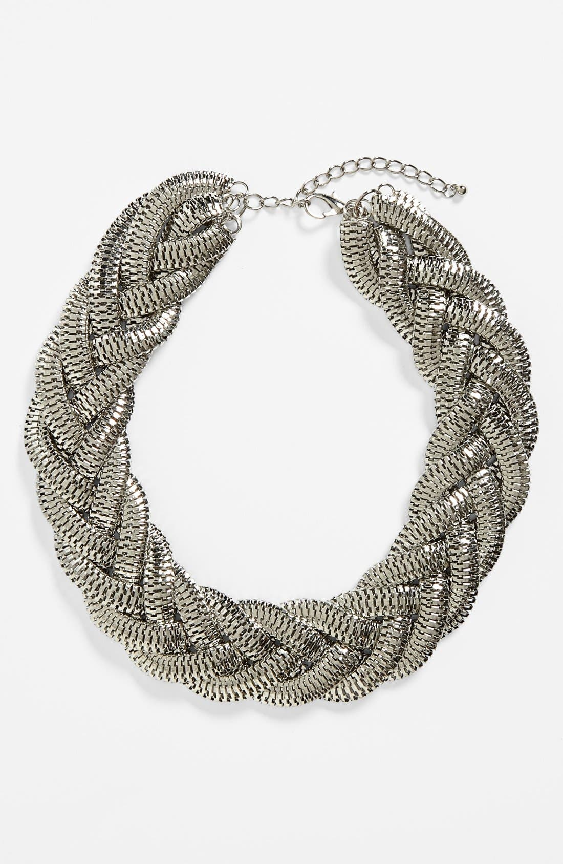 Alternate Image 1 Selected - Kool Konnections Braided Chain Collar Necklace (Juniors) (Online Only)