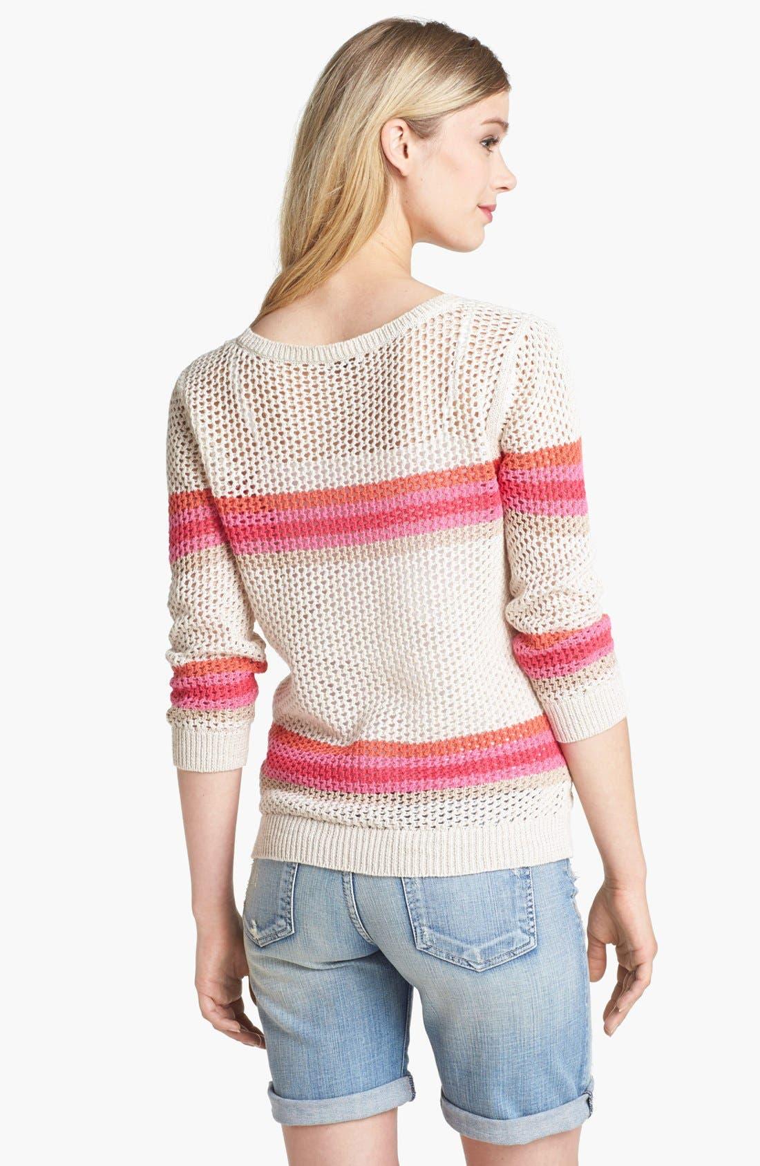 Alternate Image 2  - Halogen® Stripe Open Weave Sweater