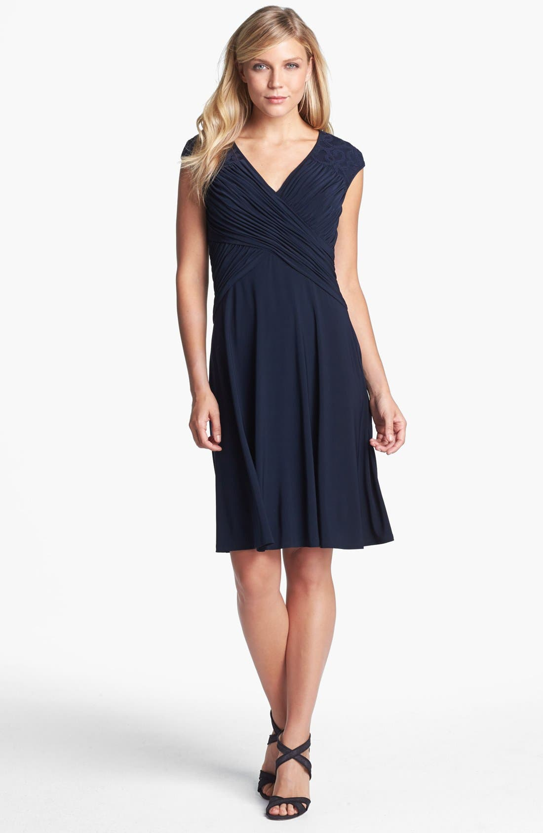 Main Image - Adrianna Papell Lace Yoke Jersey Fit & Flare Dress