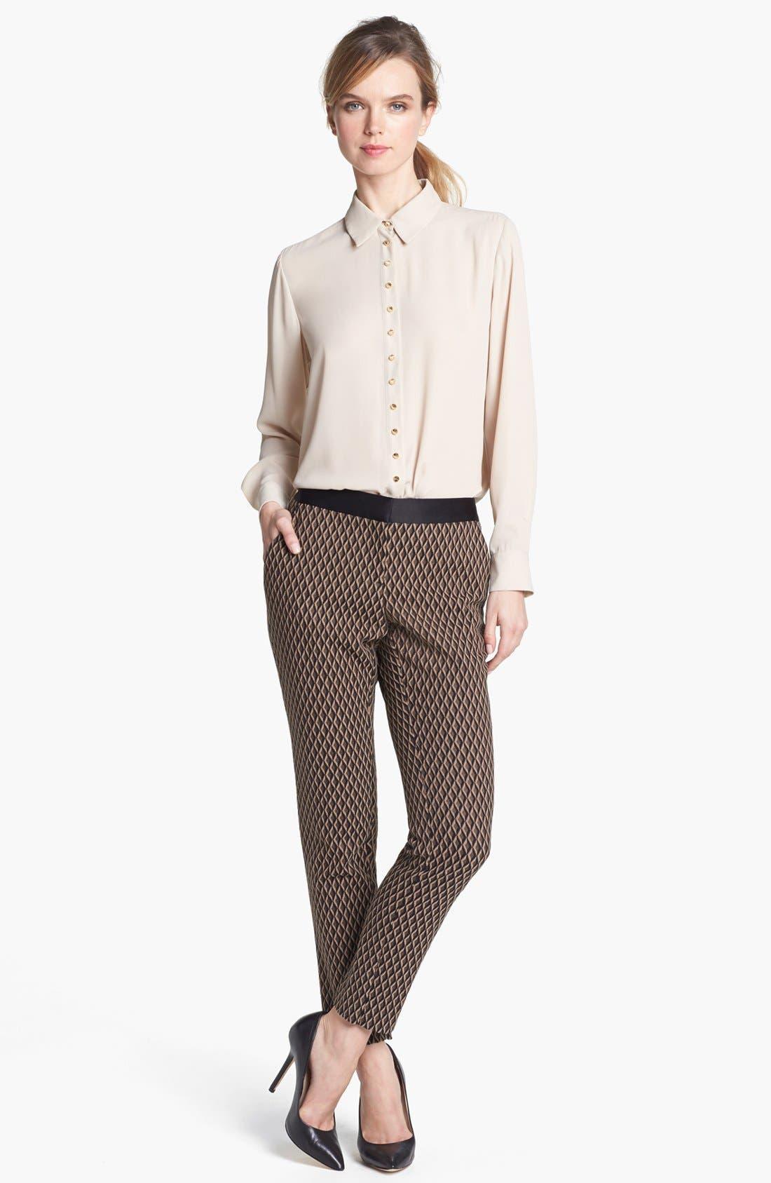 Alternate Image 6  - Vince Camuto Satin Waist Jacquard Crop Pants