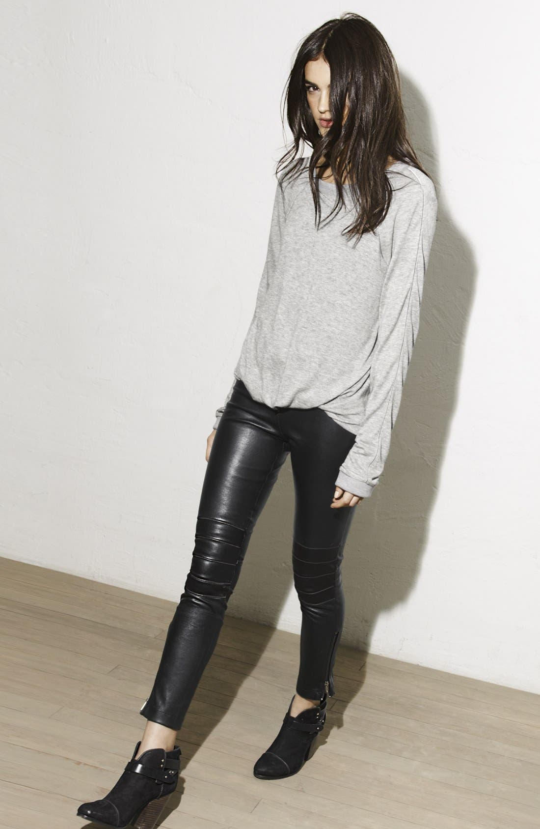 Alternate Image 5  - Elizabeth and James 'Addison' Lambskin Leather Moto Pants