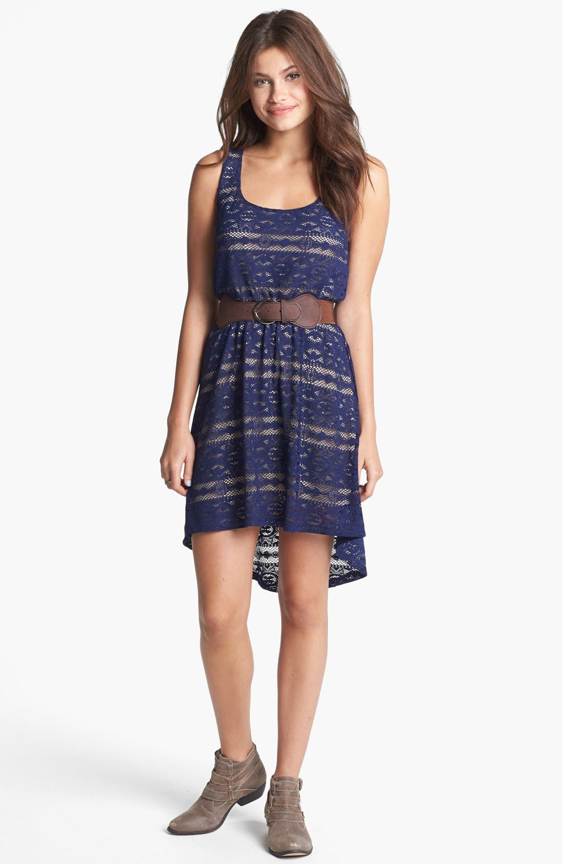 Alternate Image 1 Selected - Trixxi Belted Back Cutout Lace High/Low Dress (Juniors) (Online Only)