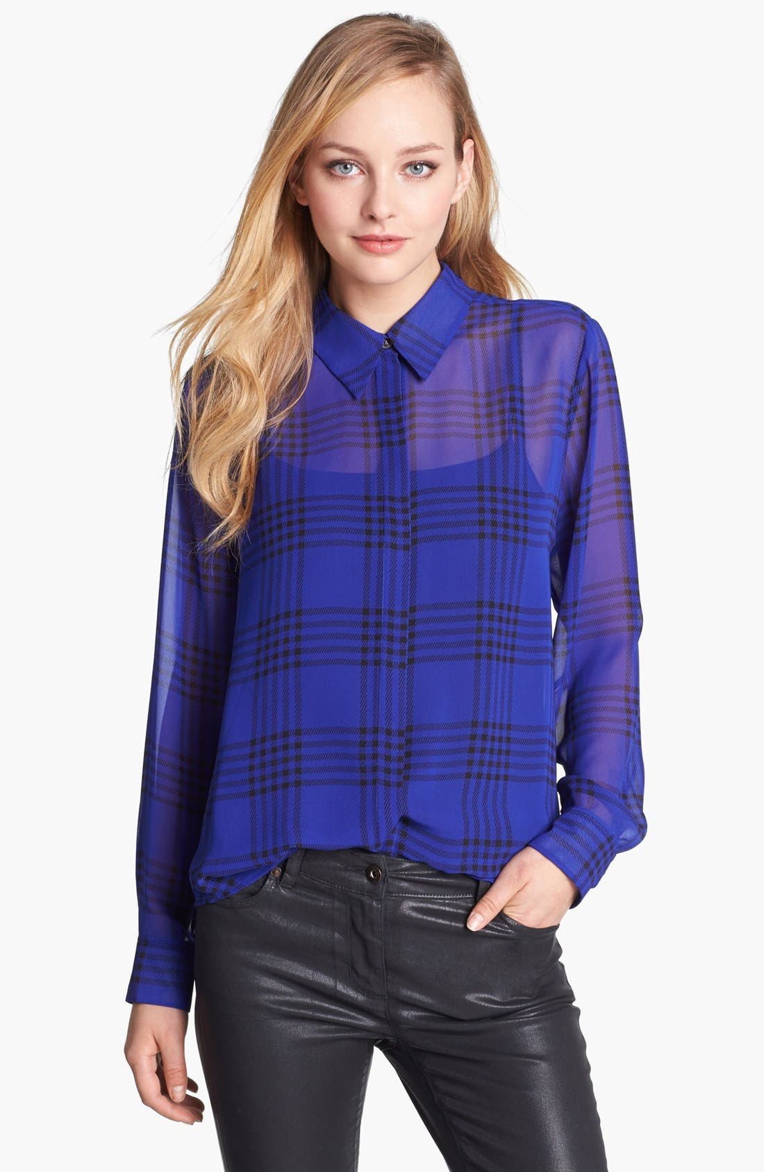 Alternate Image 1 Selected - Vince Camuto Plaid Chiffon Blouse (Online Only)