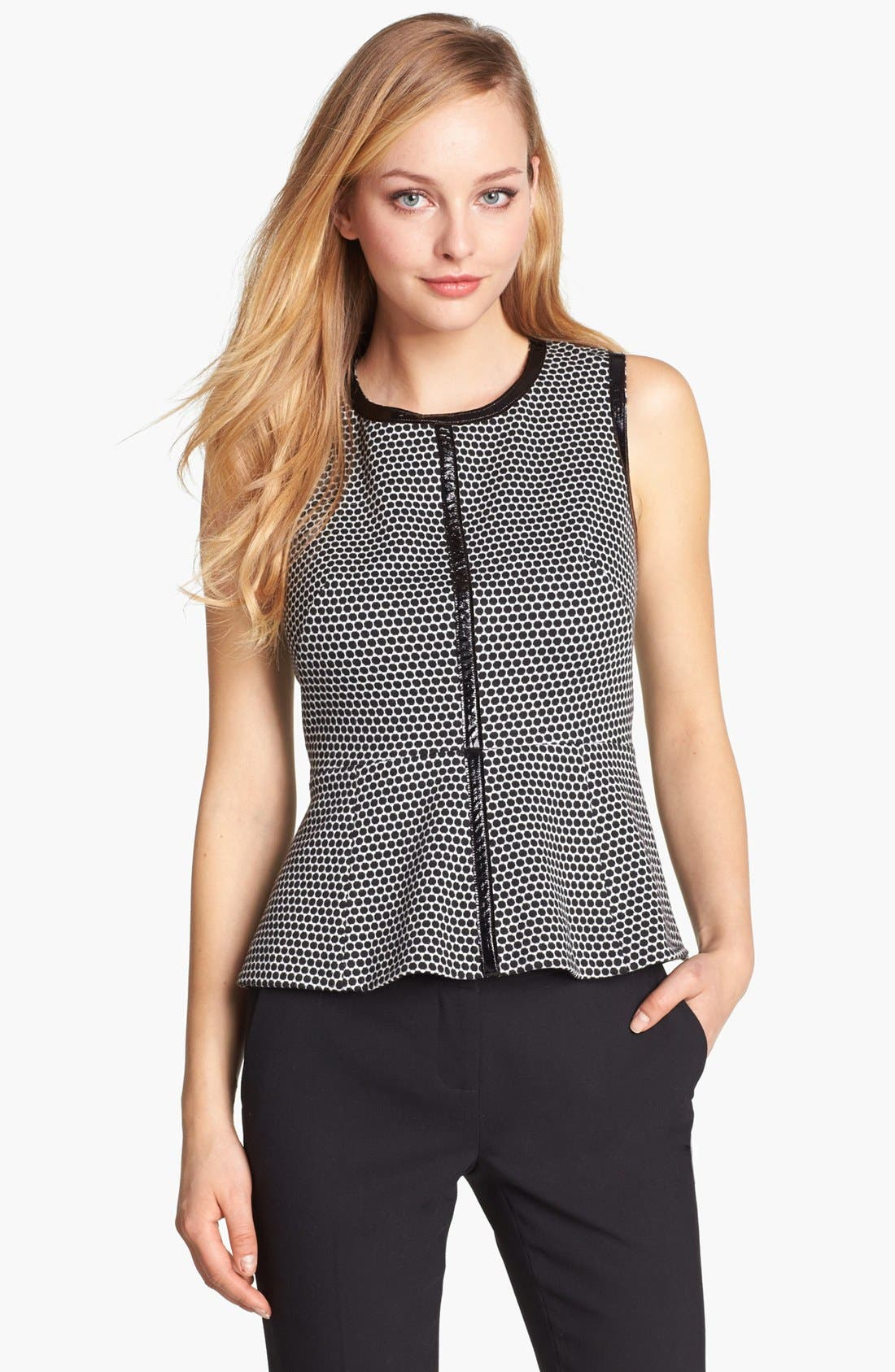Alternate Image 1 Selected - Vince Camuto Faux Leather Trim Peplum Top (Online Only)