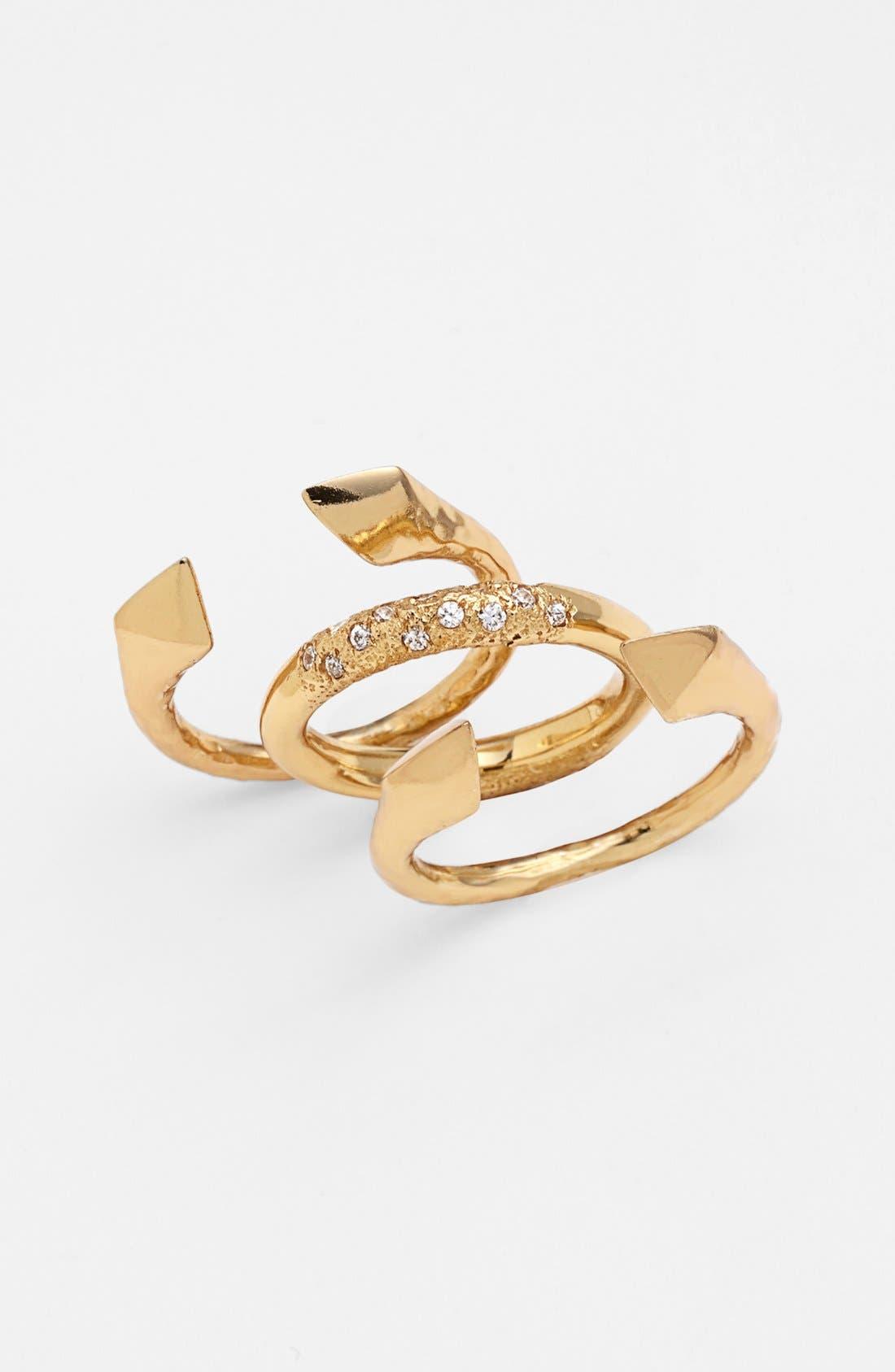 Main Image - Melinda Maria 'Nailhead - Harris' Stackable Rings (Set of 3) (Nordstrom Exclusive)