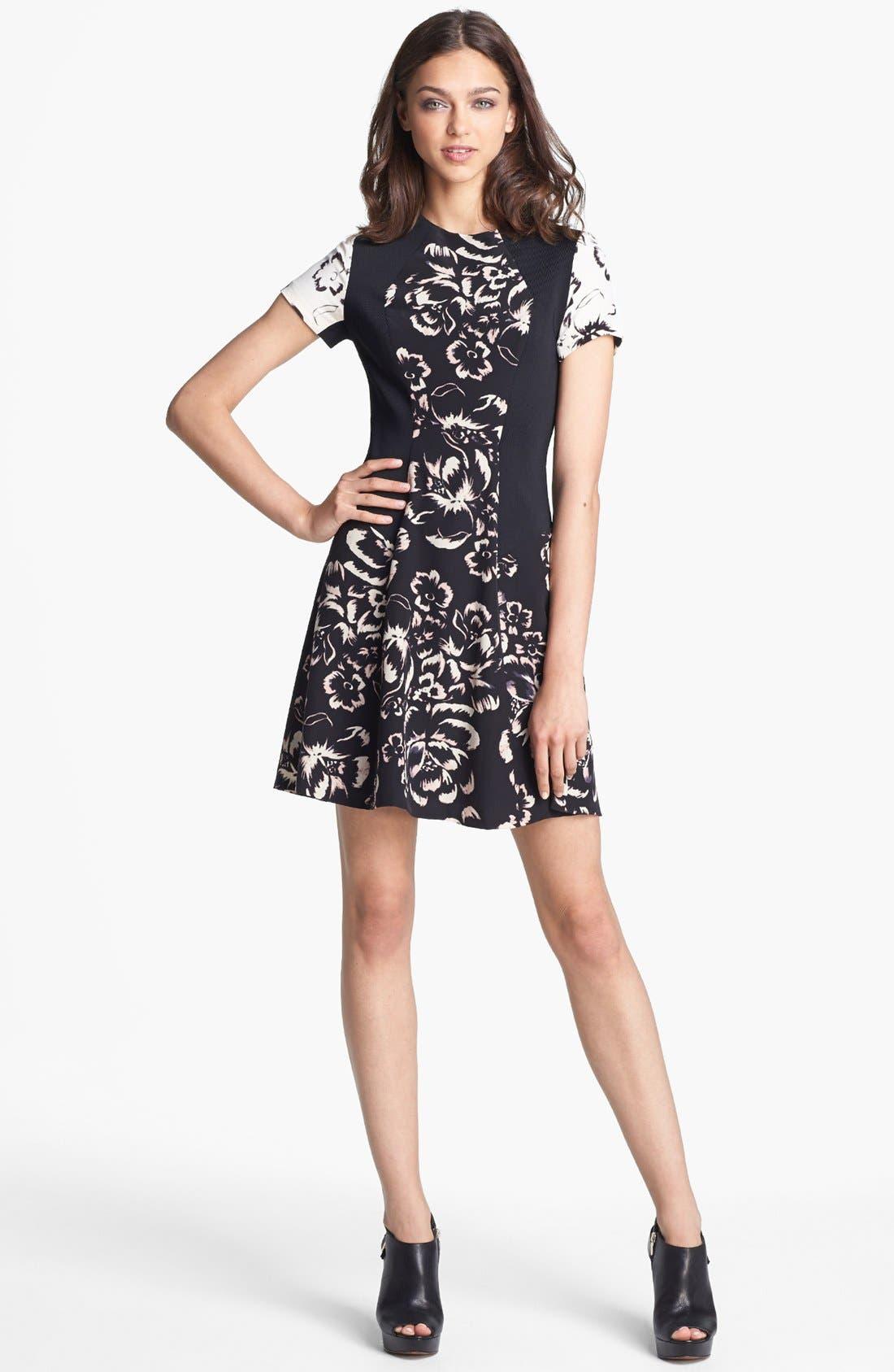 Main Image - Rebecca Taylor 'Artisanal Blocked' Print Silk A-Line Dress