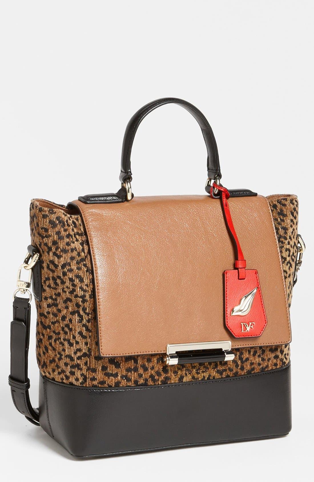 Main Image - Diane von Furstenberg '440 Top Handle - Small' Leopard Jacquard Satchel