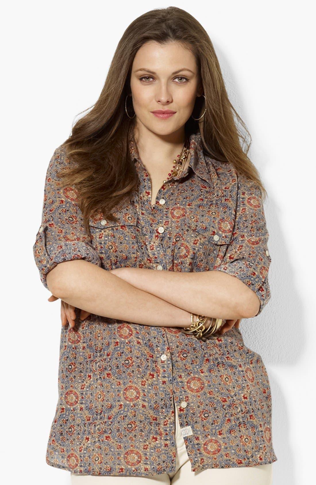Main Image - Lauren Ralph Lauren Print Work Shirt (Plus Size)