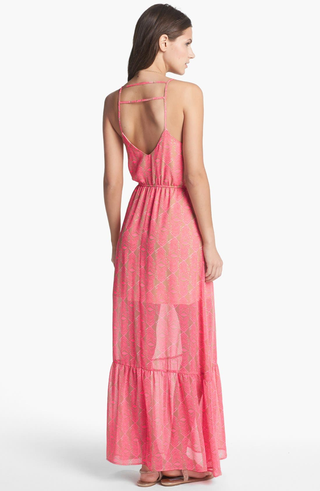 Alternate Image 2  - dee elle Open Back Print Maxi Dress (Juniors)