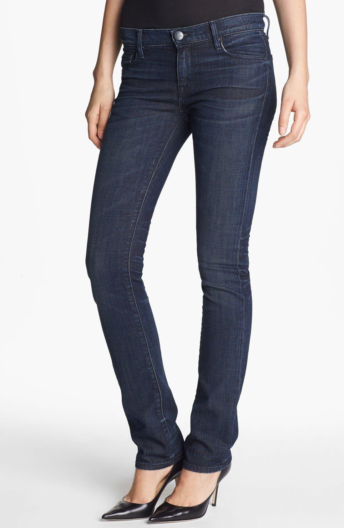 Main Image - Vince Cigarette Leg Stretch Jeans (Dark Crimson Vintage)