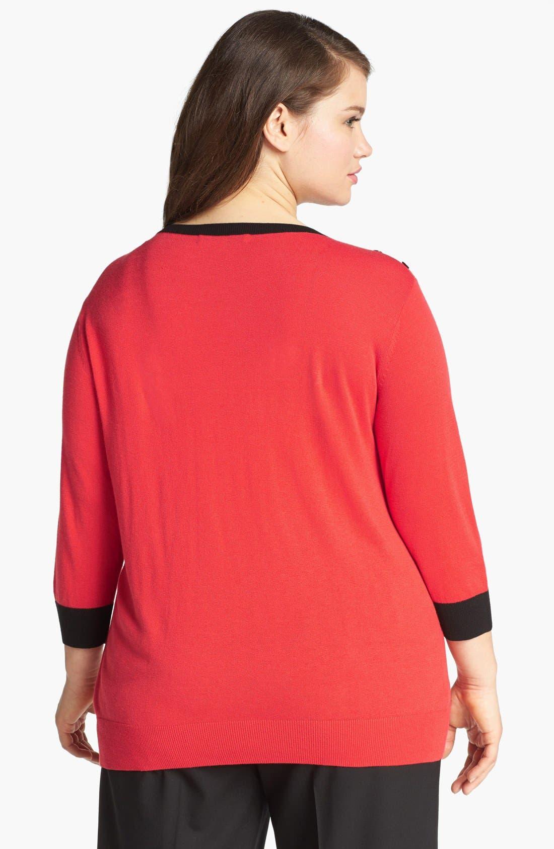 Alternate Image 2  - Sejour Colorblock Pullover Sweater (Plus Size)