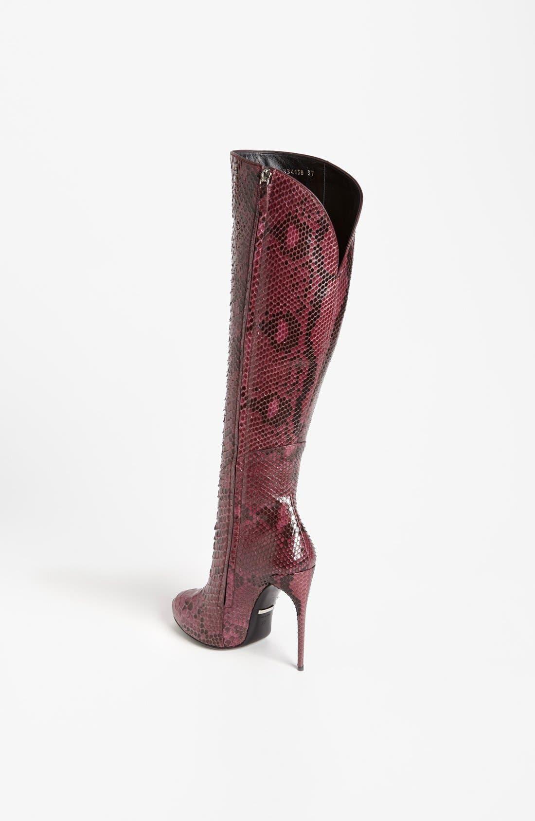 Alternate Image 2  - Gucci 'Kim' Genuine Python Cutaway Knee Boot