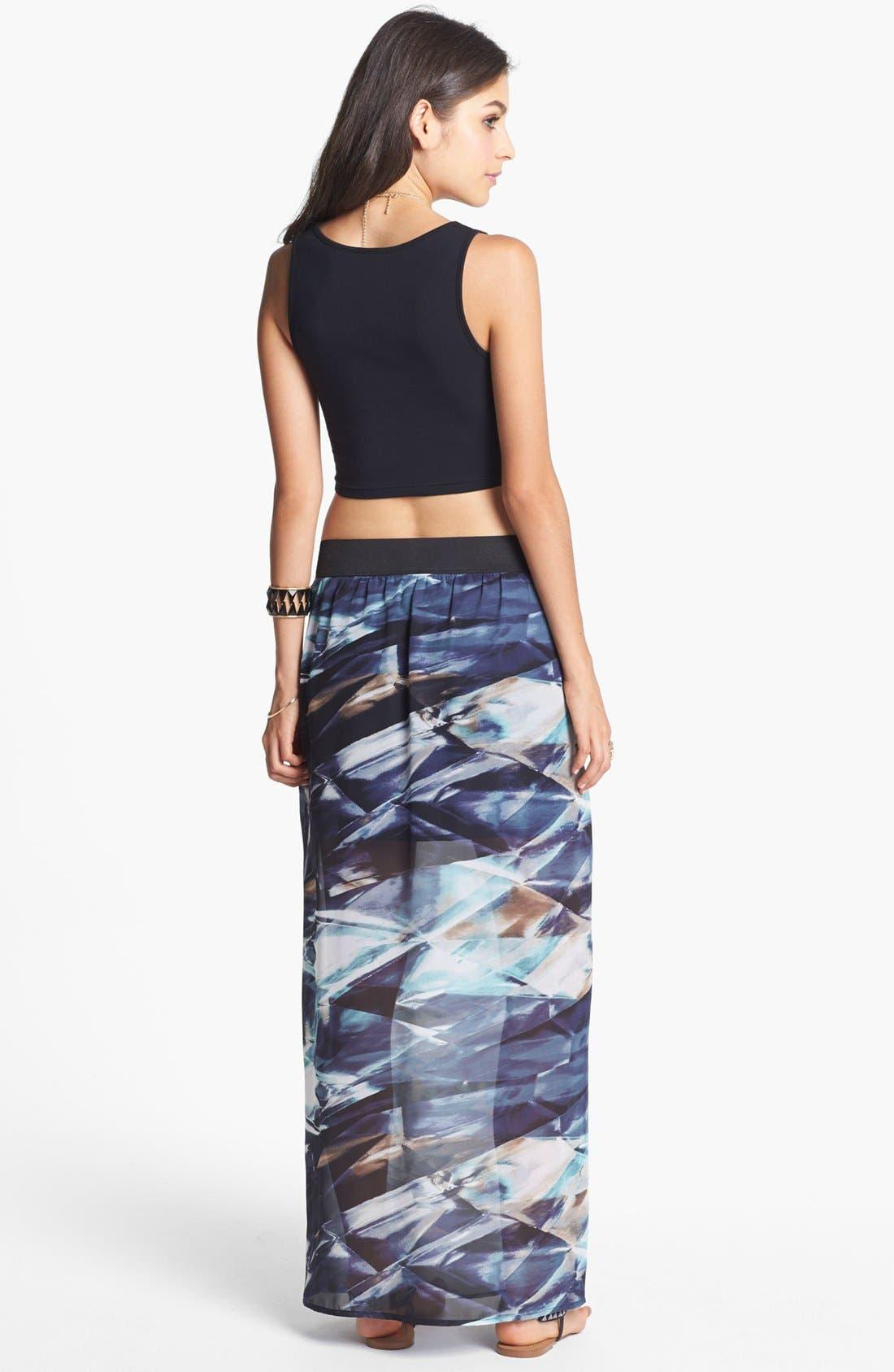 Alternate Image 2  - Mimi Chica Front Slit Print Maxi Skirt (Juniors)