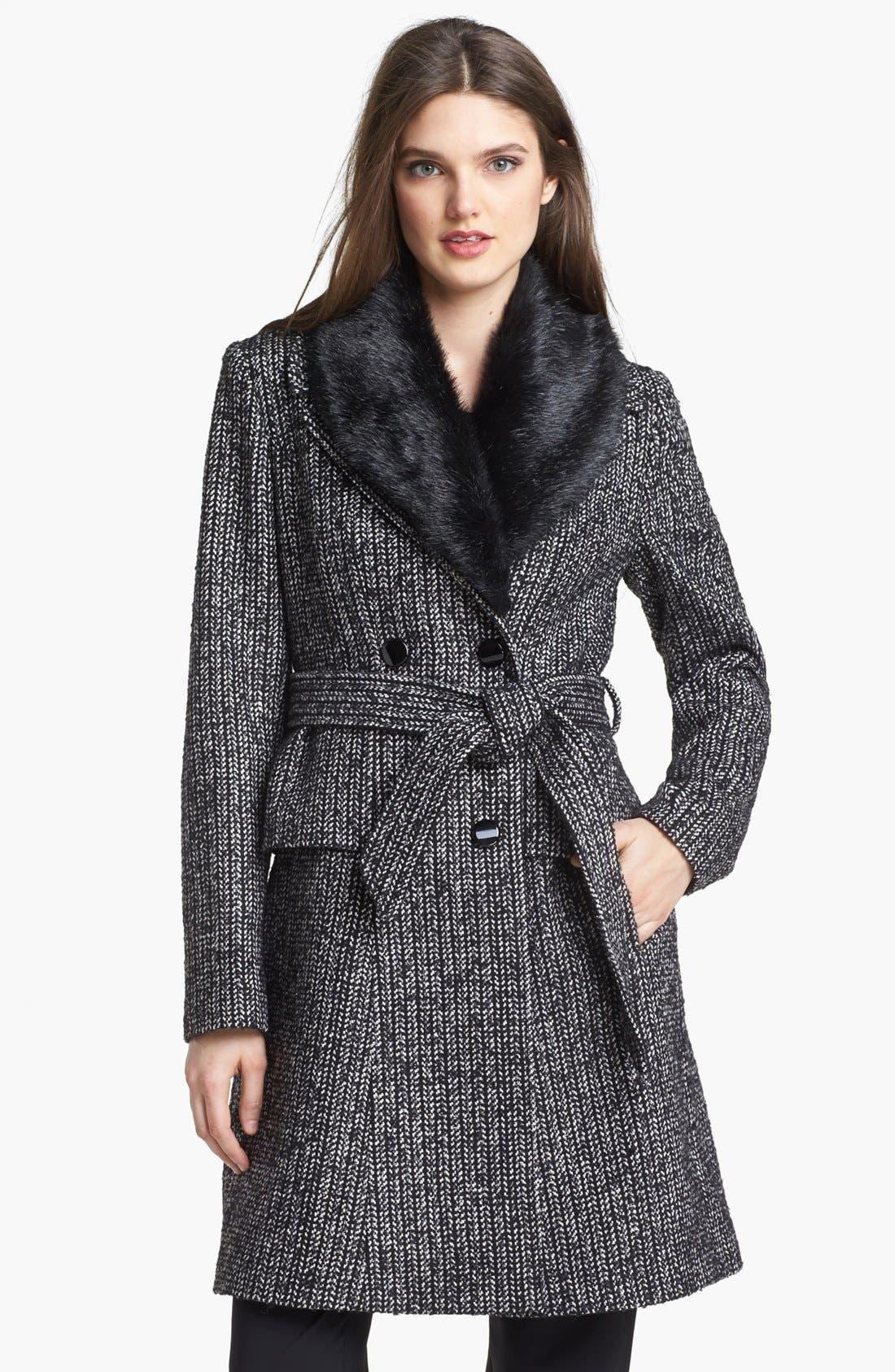 Main Image - Ivanka Trump Belted Tweed Coat with Detachable Faux Fur Collar