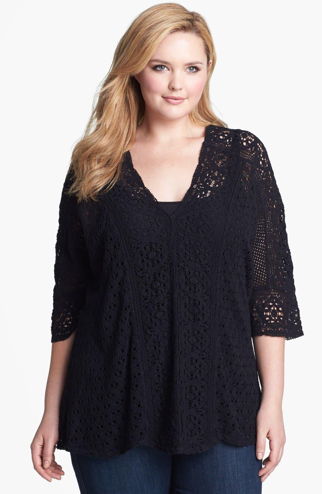 Main Image - XCVI Wearables Crochet Lace Tunic (Plus Size)