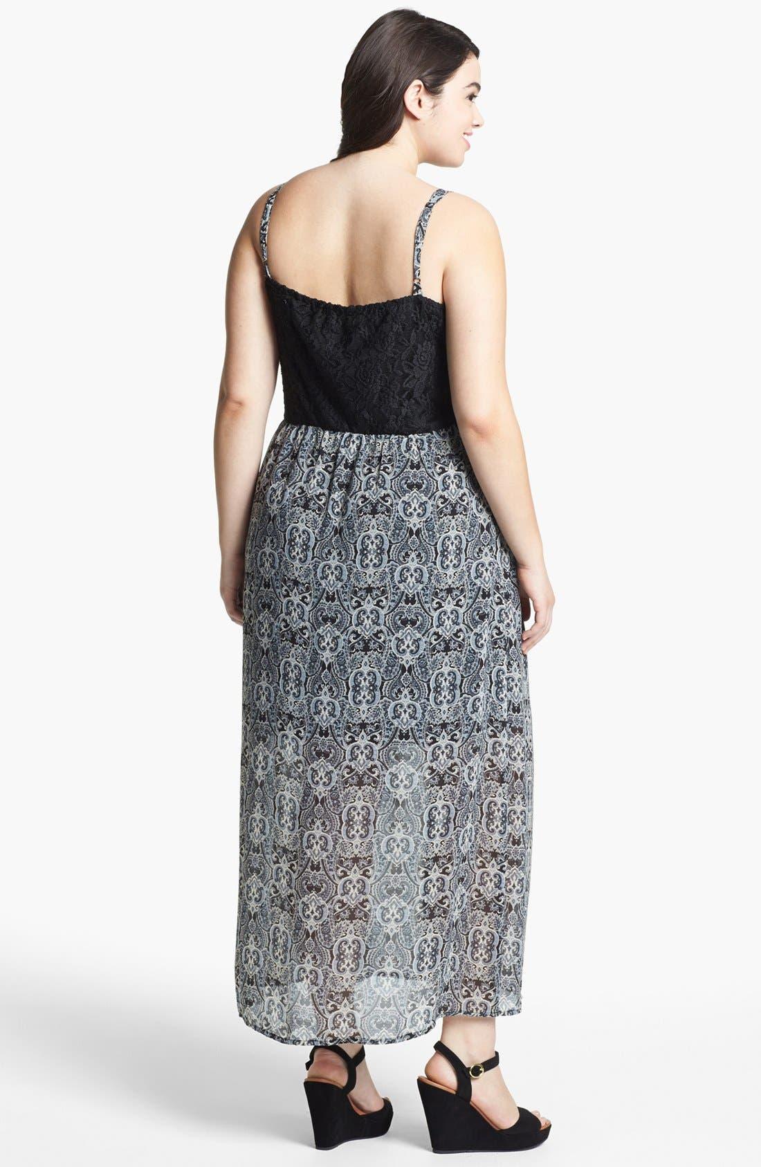Alternate Image 2  - Mimi Chica Lace Inset Maxi Dress (Juniors Plus)