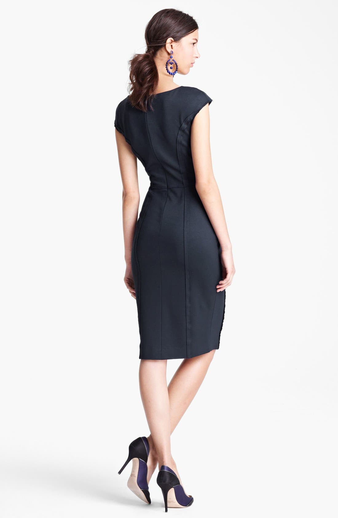 Alternate Image 2  - Oscar de la Renta Ruched Front Jersey Dress