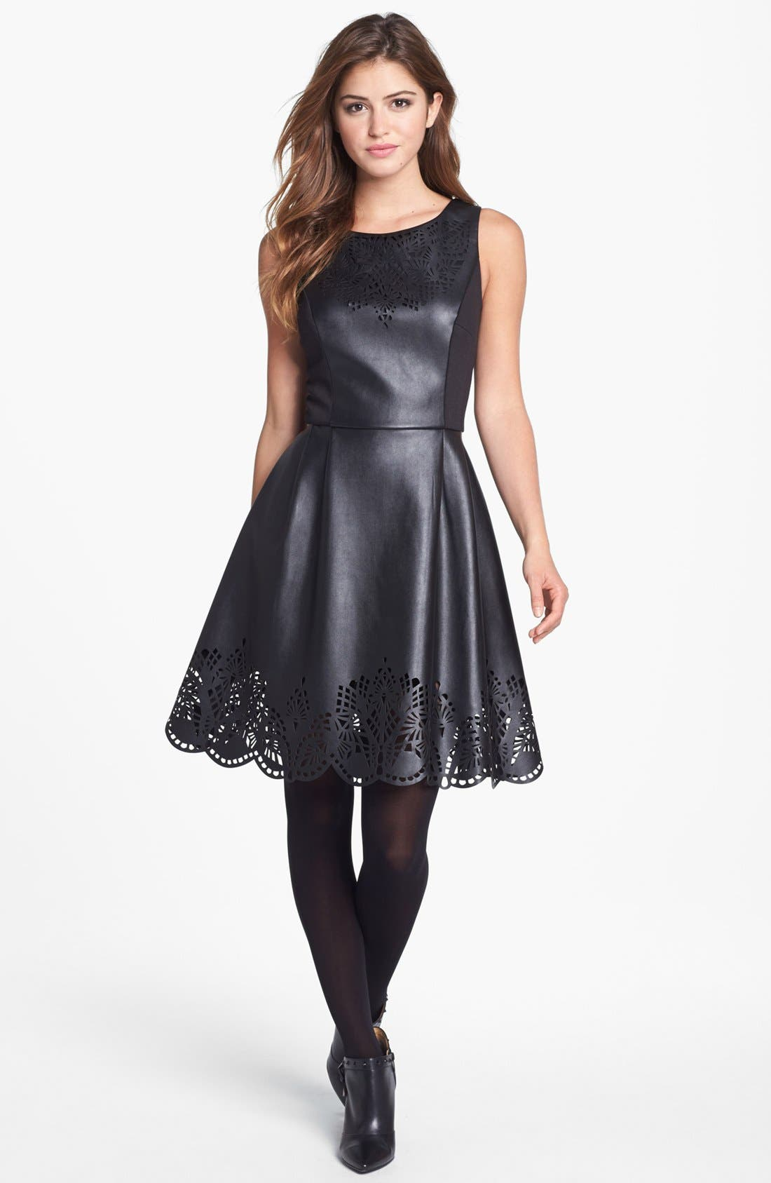 Main Image - Betsey Johnson Laser Cut Faux Leather Fit & Flare Dress (Online Only)