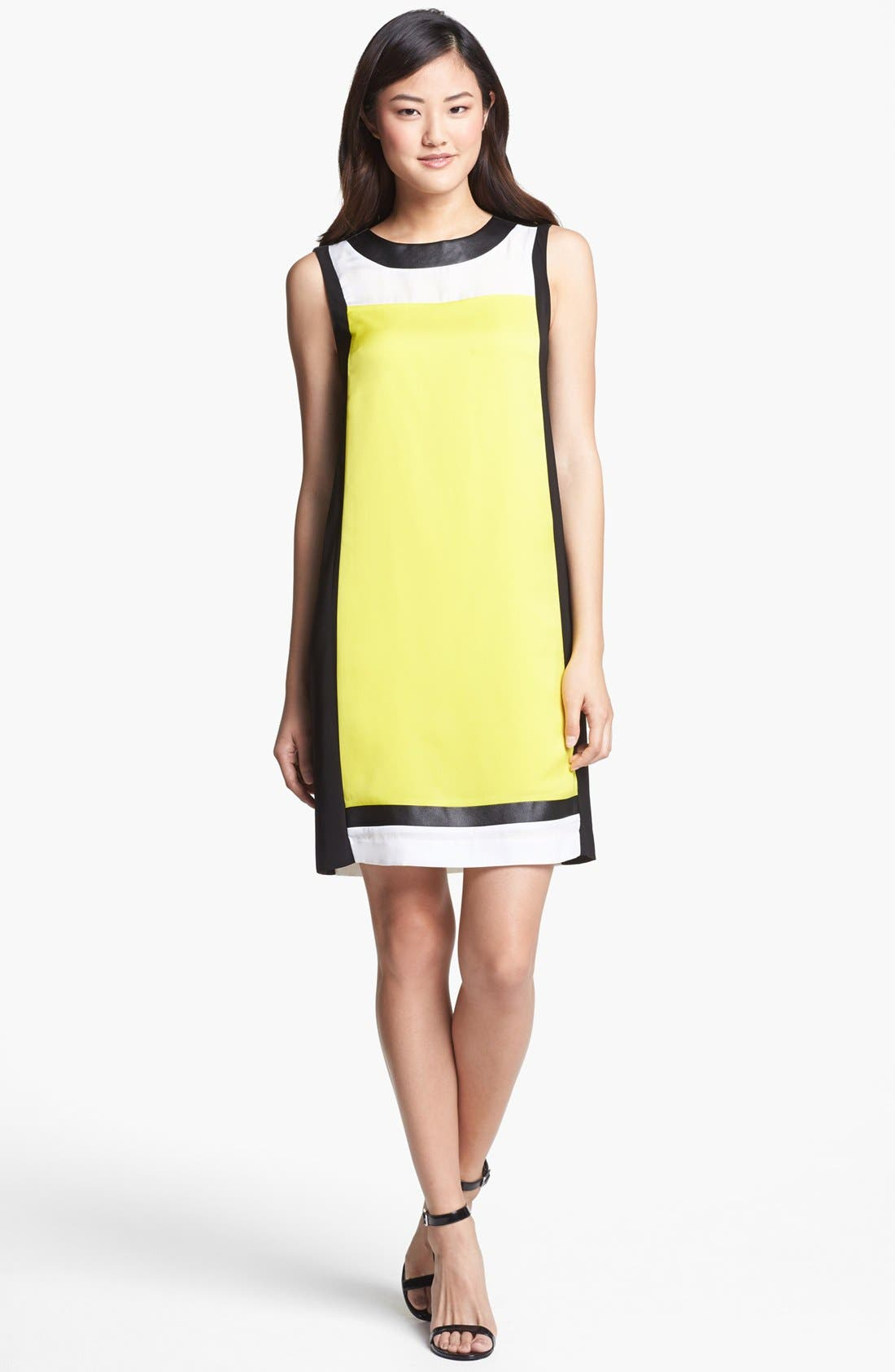 Main Image - DKNYC Faux Leather Colorblock Shift Dress