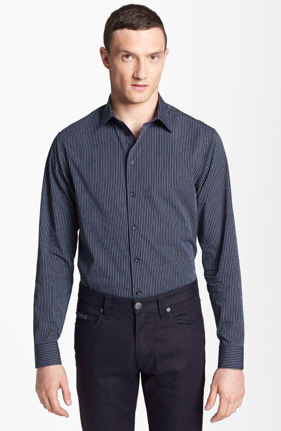 Main Image - Armani Collezioni Stripe Cotton Sport Shirt