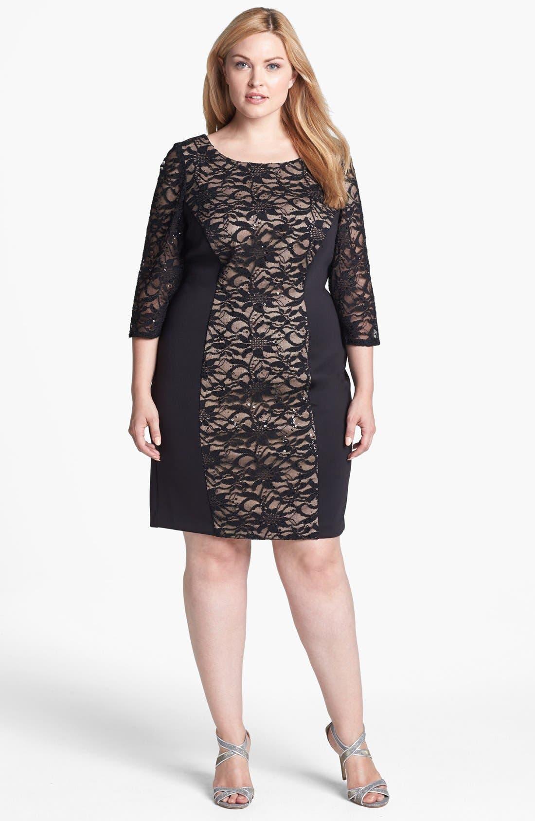 Alternate Image 1 Selected - Alex Evenings Embellished Lace Panel Sheath Dress (Plus Size)