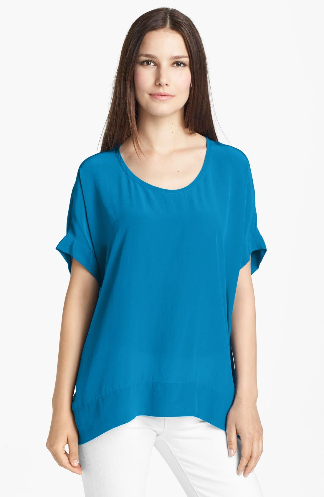 Main Image - Eileen Fisher Scoop Neck Silk Crêpe de Chine Top