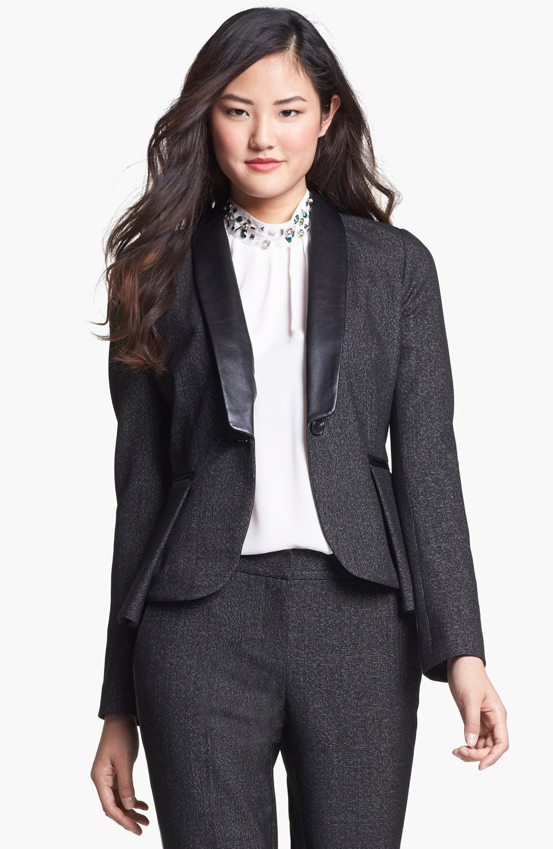 Main Image - Vince Camuto Faux Leather Collar Peplum Blazer