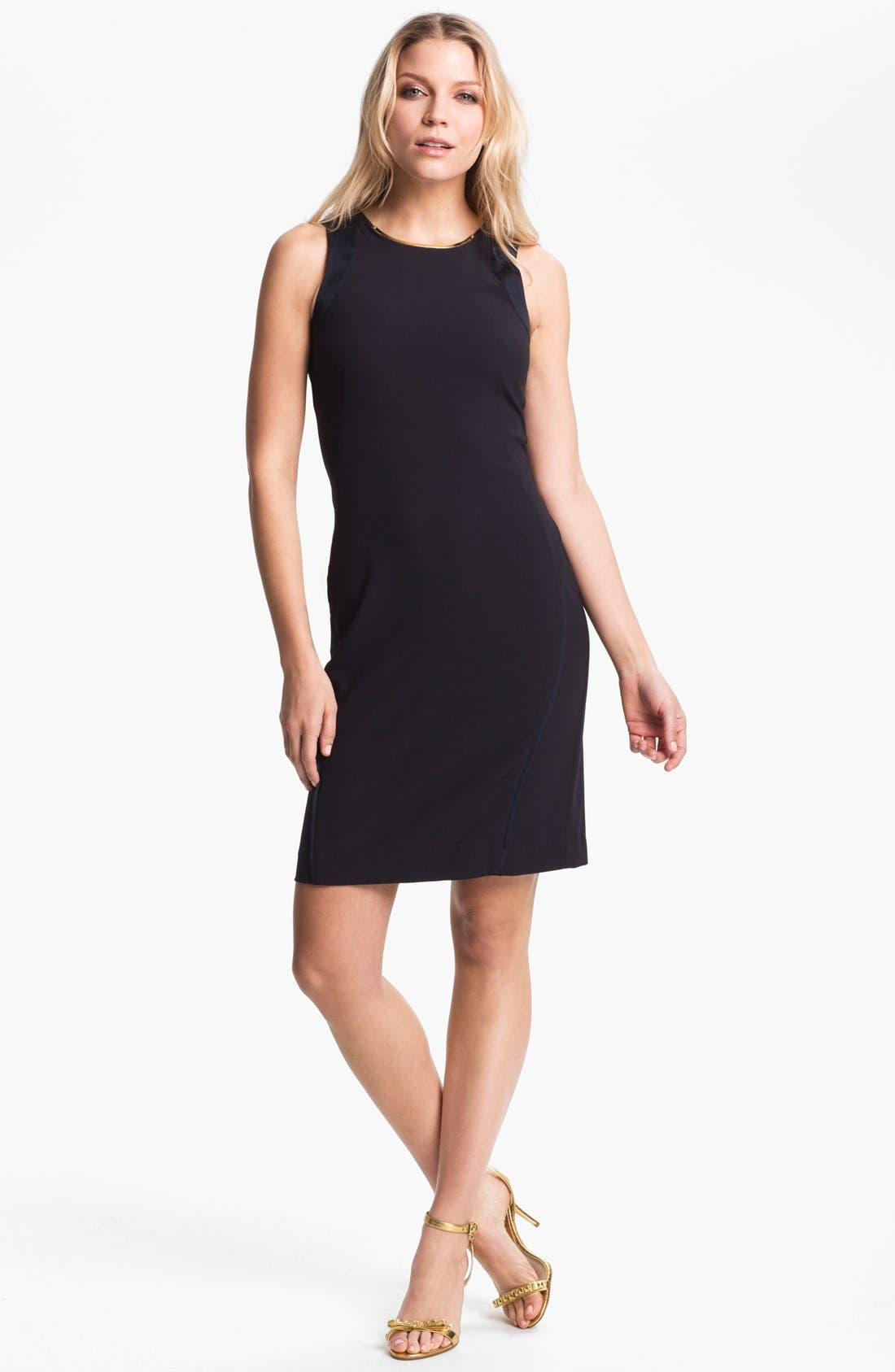 Alternate Image 1 Selected - MICHAEL Michael Kors Embellished Neck Sleeveless Dress (Petite)