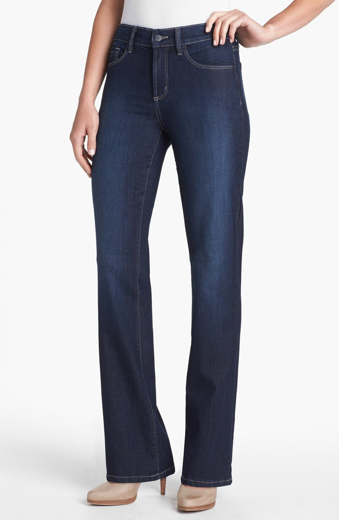 Alternate Image 1 Selected - NYDJ 'Barbara' Embellished Pocket Stretch Bootcut Jeans (Hollywood) (Regular & Petite)