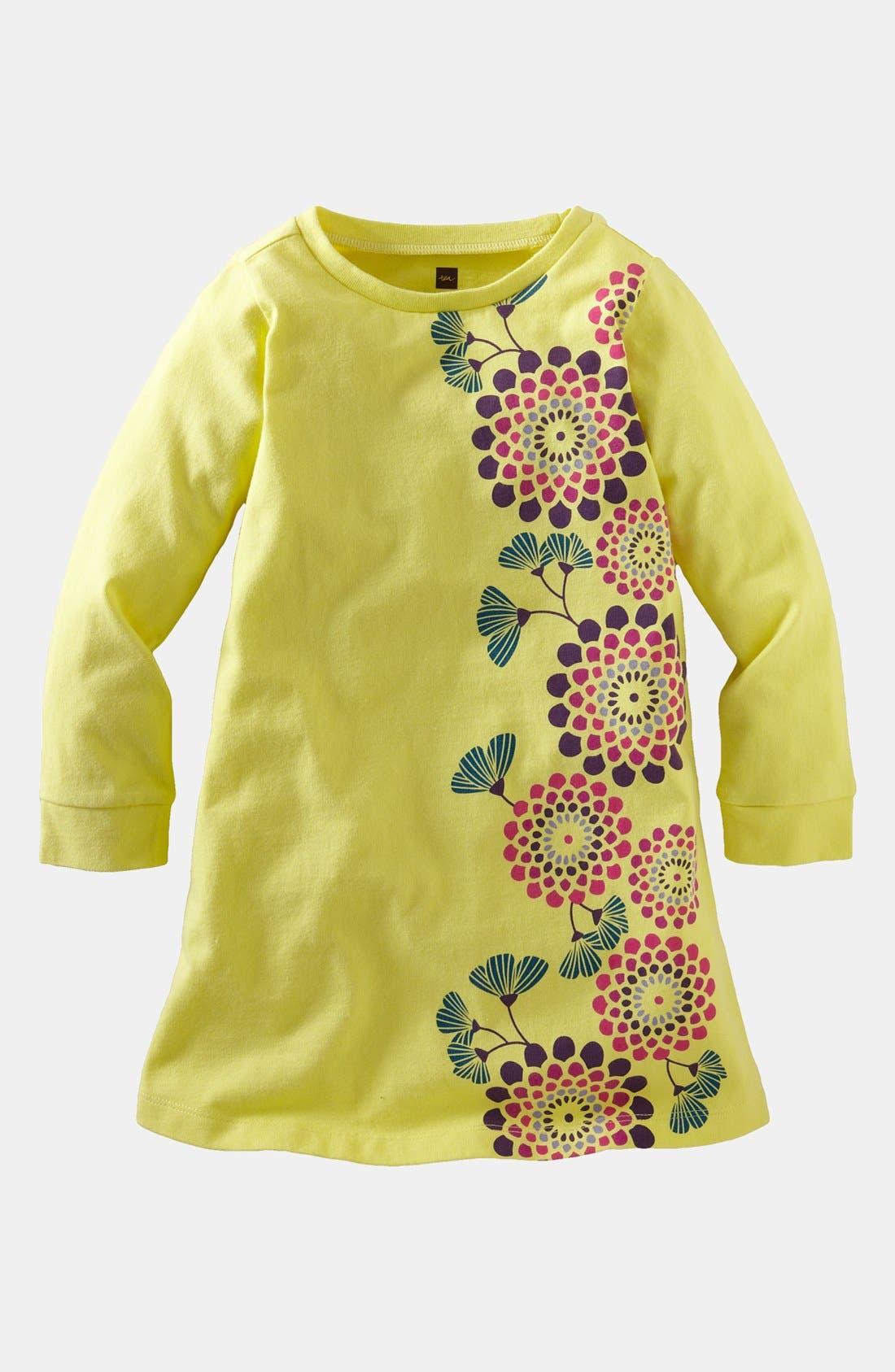 Main Image - Tea Collection 'Yangzi Floral' Long Sleeve Shirtdress (Little Girls & Big Girls)