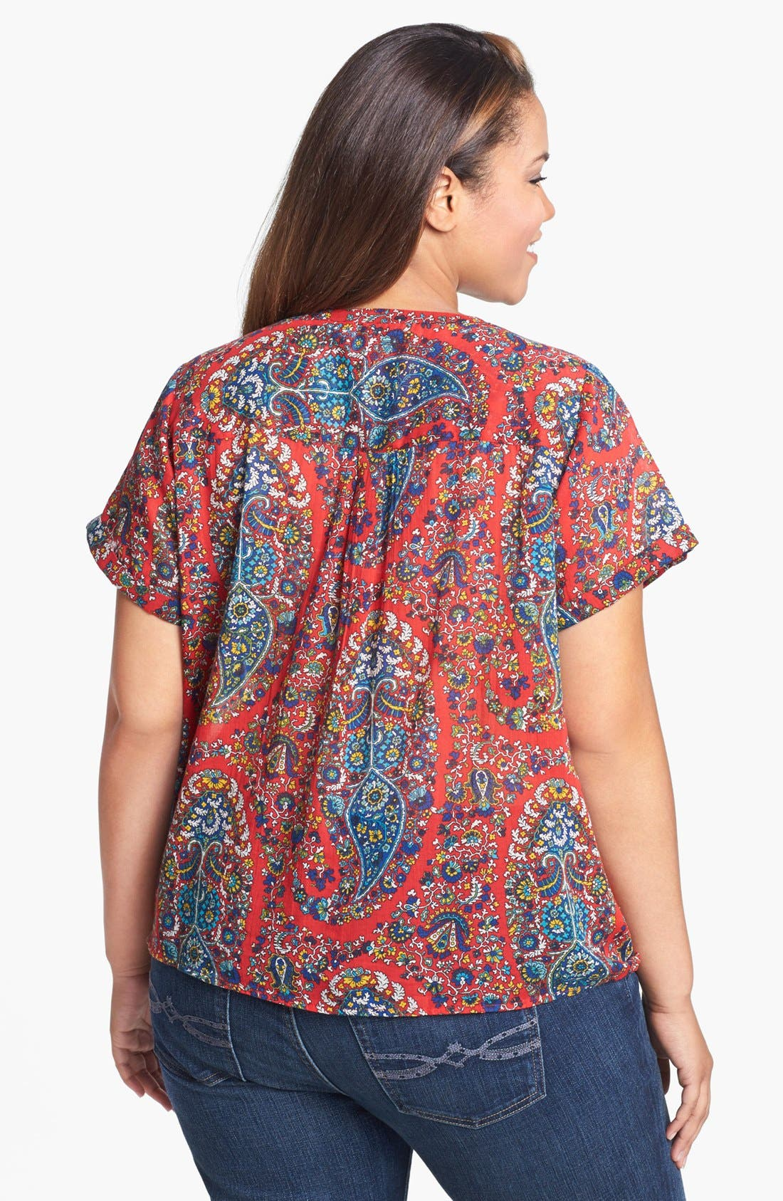 Alternate Image 2  - Lucky Brand 'Cameron' Tie Front Paisley Top (Plus Size)