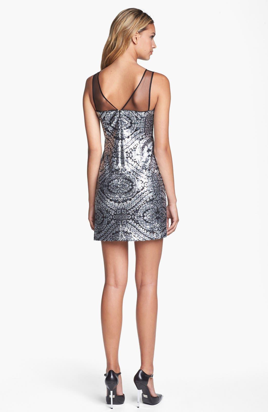 Alternate Image 2  - Adrianna Papell Illusion Yoke Sequin Sheath Dress (Petite)