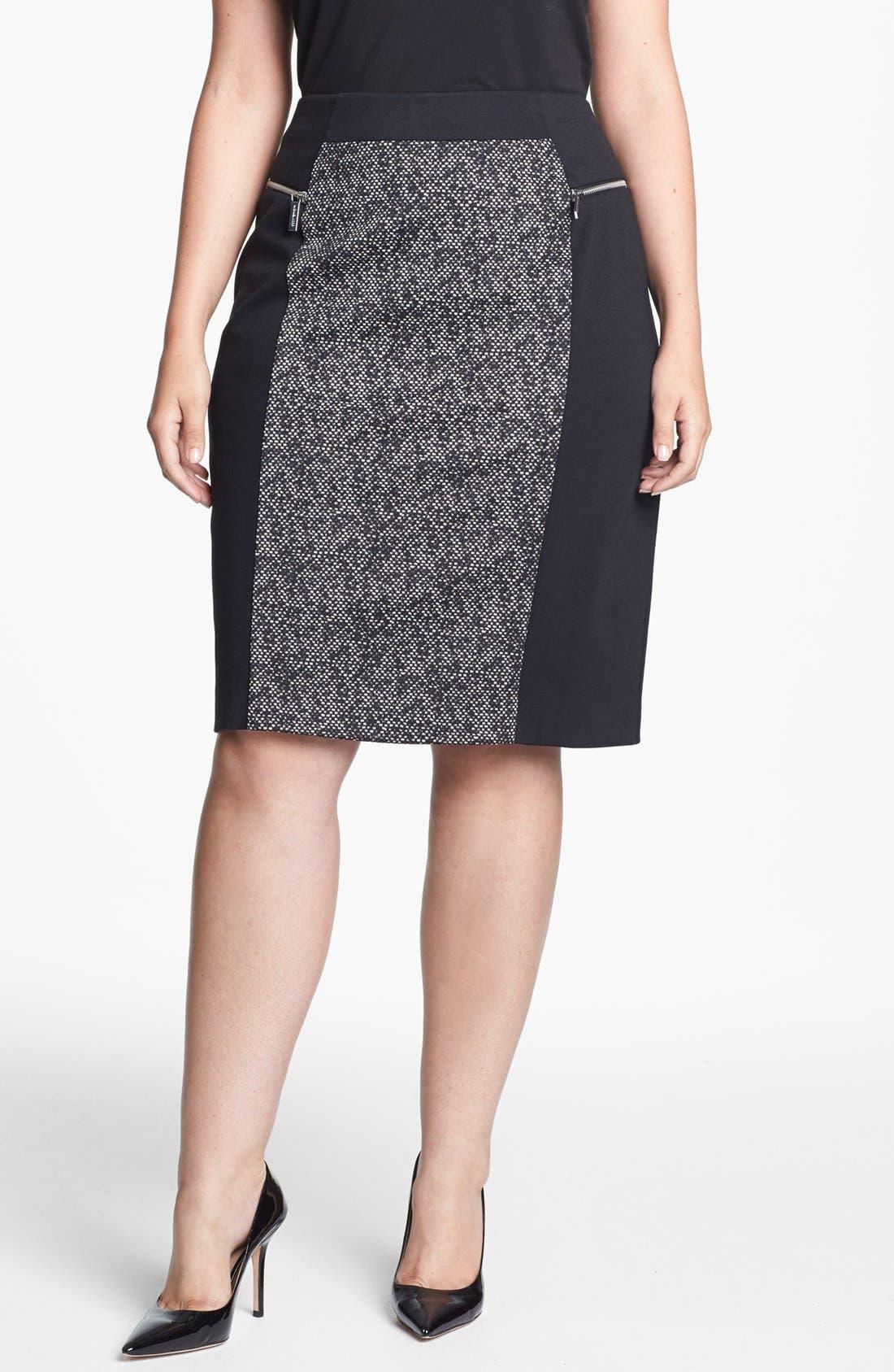 Main Image - MICHAEL Michael Kors Colorblock Ponte Pencil Skirt (Plus Size)