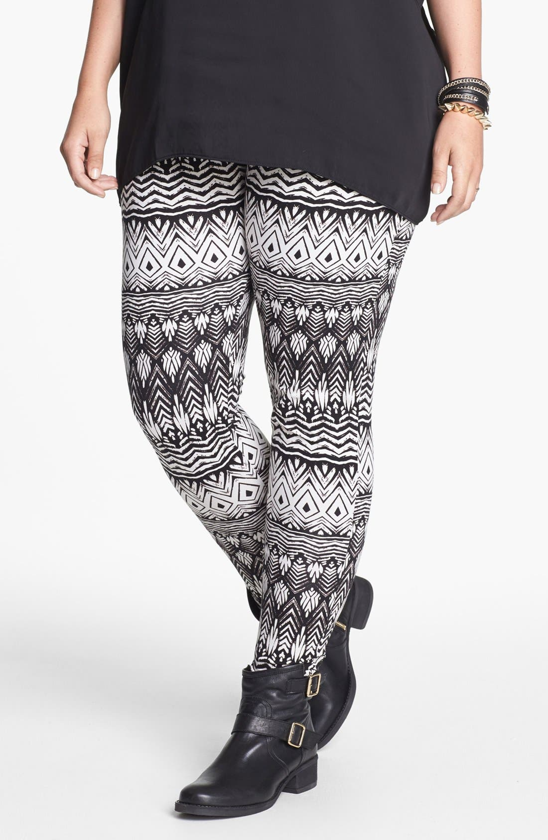 Main Image - Lily White Print Leggings (Juniors Plus)