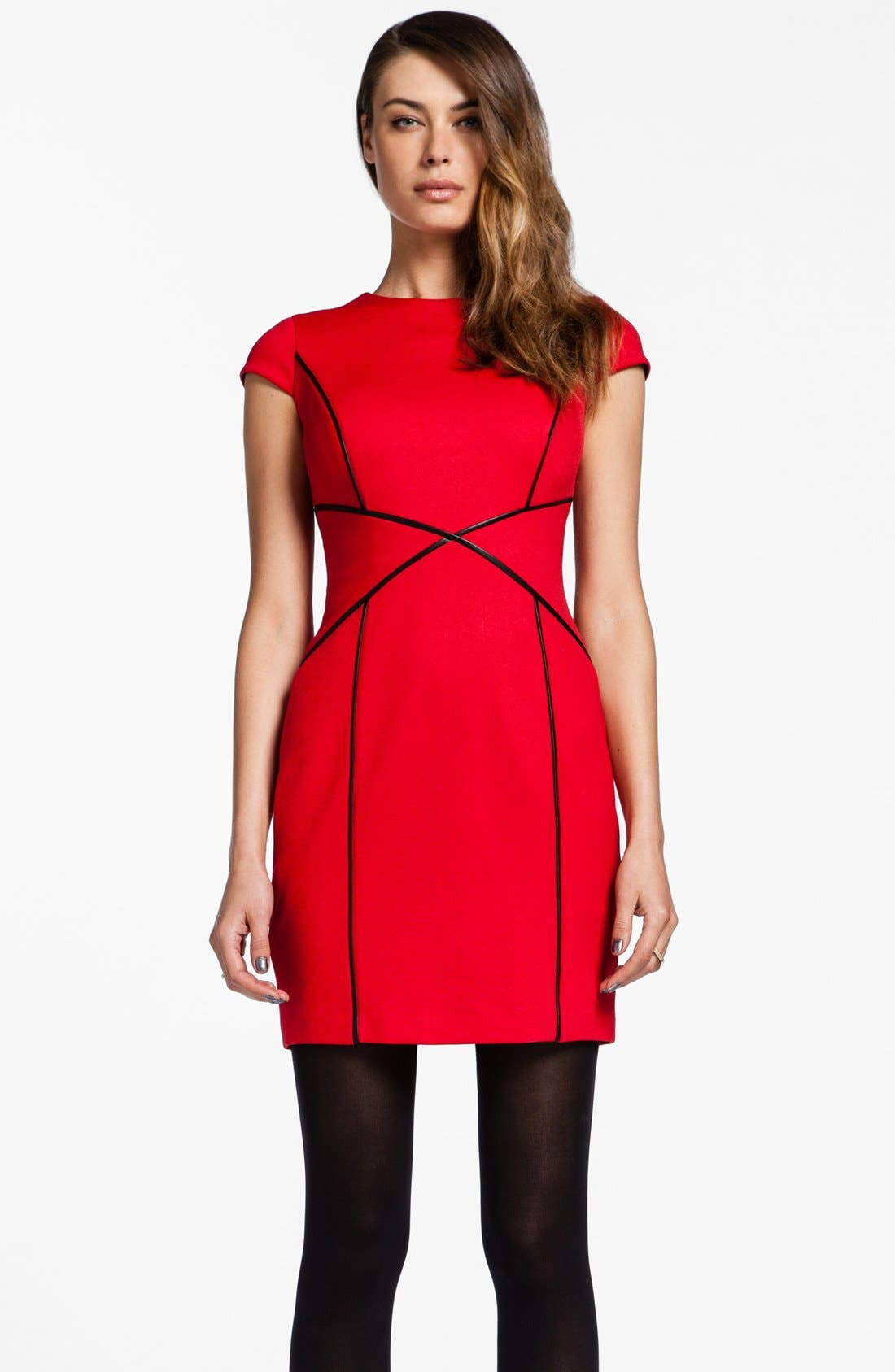 Main Image - Cynthia Steffe 'Bristol' Faux Leather Trim Sheath Dress