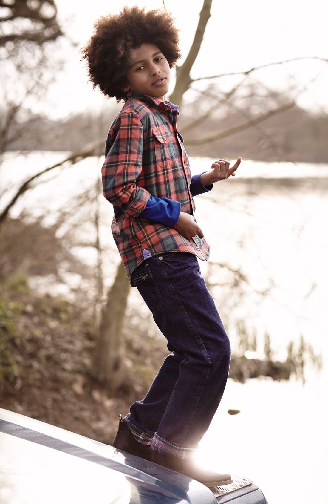 Alternate Image 2  - Mini Boden Brushed Check Shirt (Toddler, Little Boys & Big Boys)