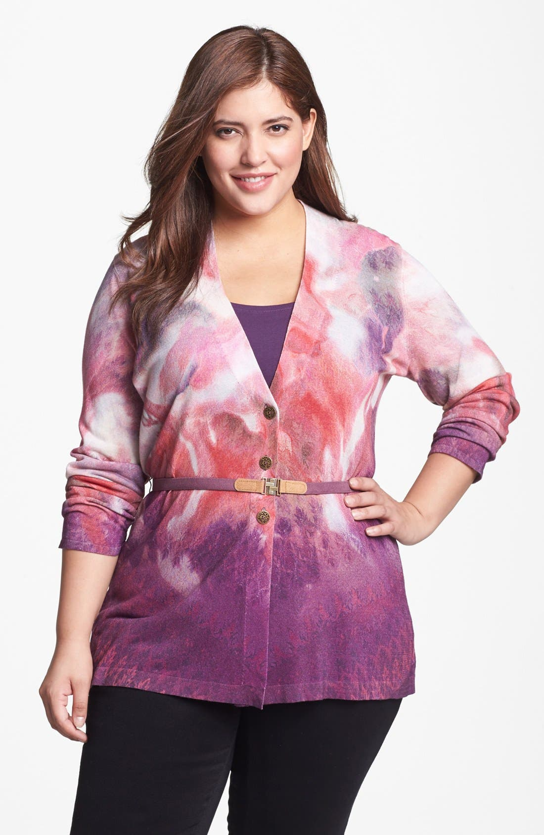 Main Image - NIC+ZOE 'Swirling Blossoms' Cardigan (Plus Size)