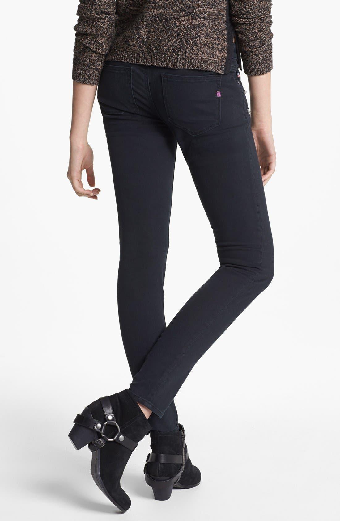 Alternate Image 2  - Vigoss Zipper Detail Twill Pants (Black) (Juniors)