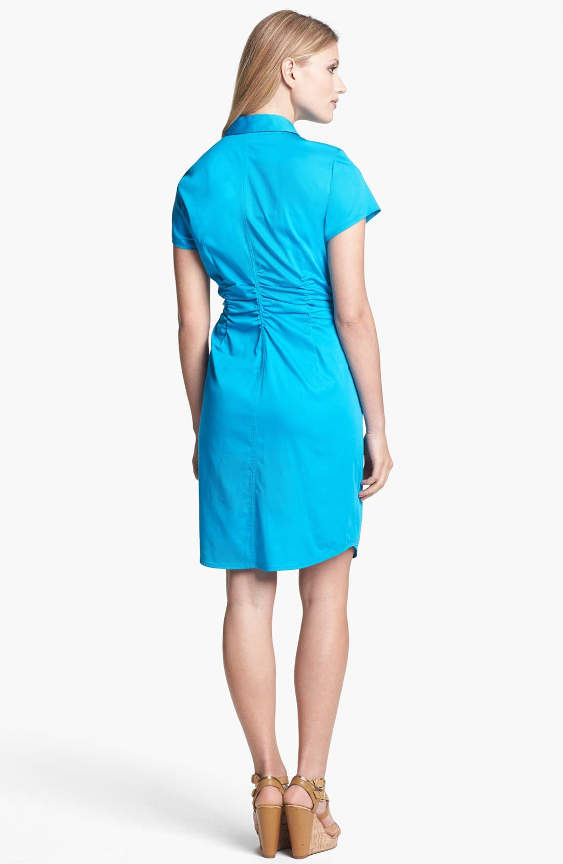 Alternate Image 2  - Chaus Ruched Sateen Shirtdress