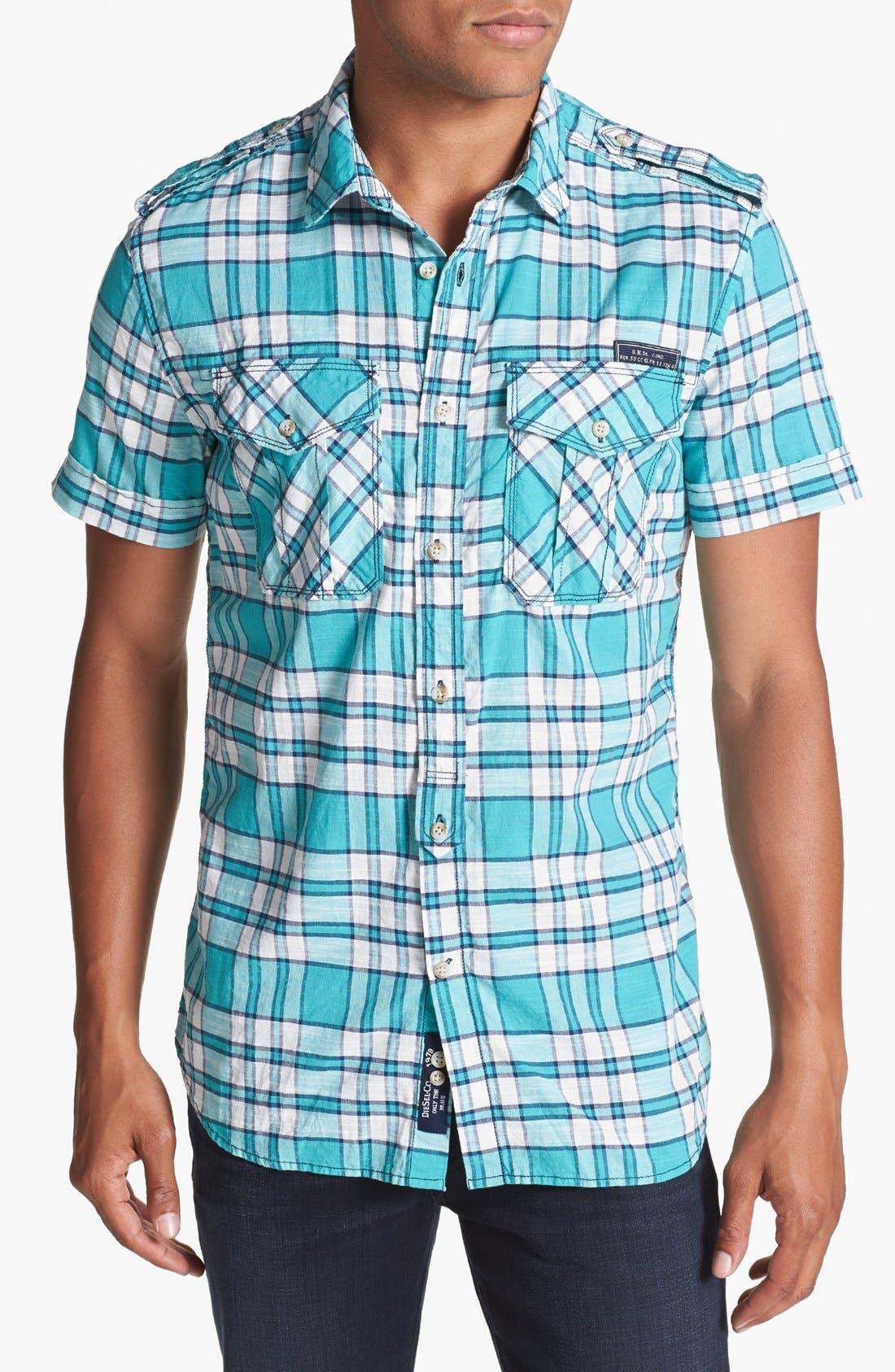 Alternate Image 1 Selected - DIESEL® 'Sadela' Yarn Dyed Check Woven Shirt