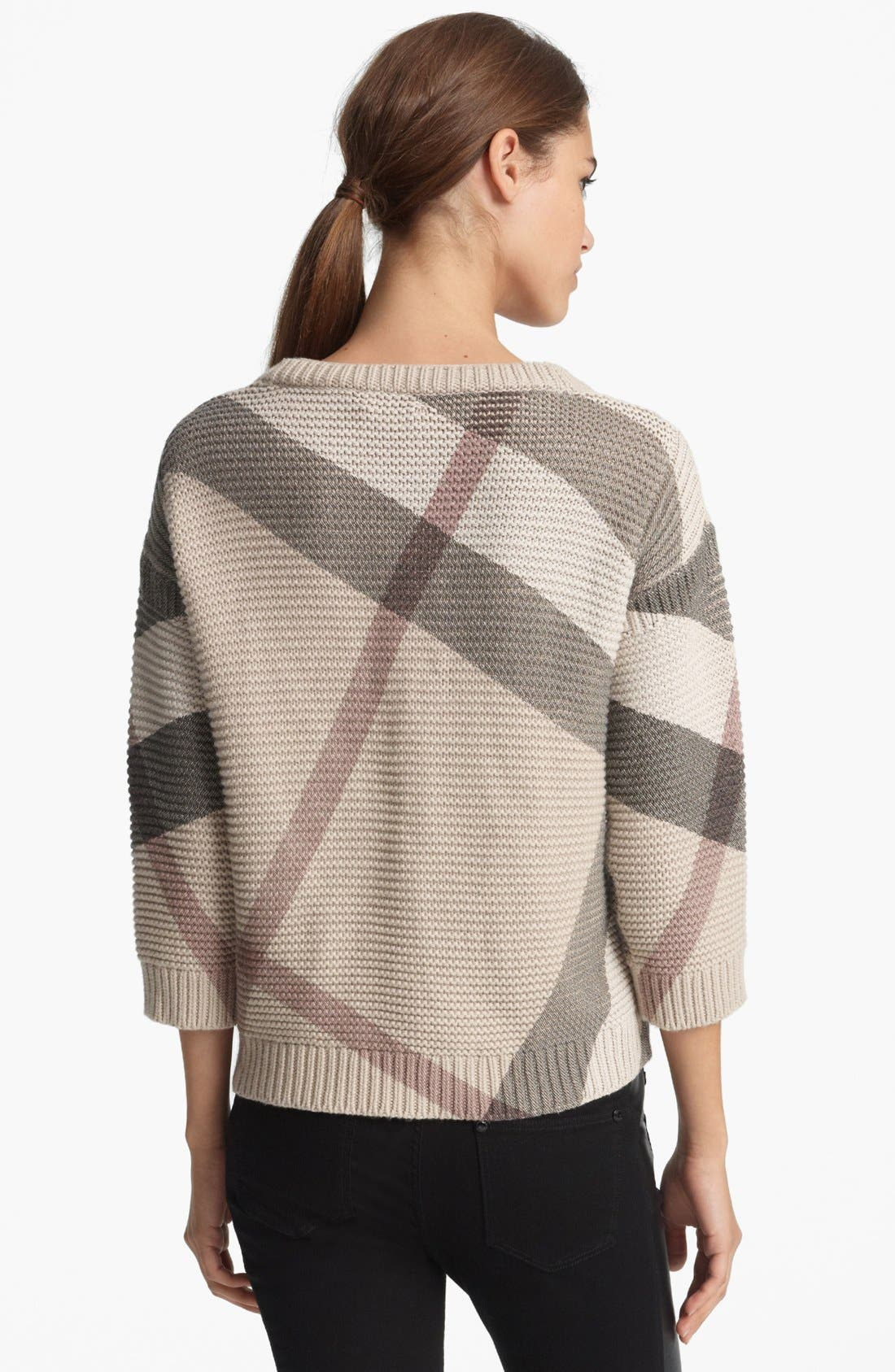 Alternate Image 2  - Burberry Brit Check Pattern Sweater